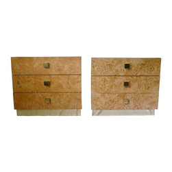 Used Vintage Burl Wood and Brass Chests - A Pair - A gorgeous pair of three drawer burl wood and brass nightstand chests by Founders attributed to Milo Baughman. These could also be used as side end tables. There are a few blemishes consistent with age; a chip on top of one with a small nick on the bottom and the brass bottom plate on the other does not quite go all of the way to the floor.