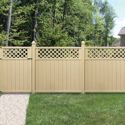 "Beautiful, Functional Fencing - Lattice topped 6-foot vinyl privacy fence and gate in ""wicker"" color. Wind Code Approved- Meets Miami Dade wind code with additional products and assembly. Verdana fencing built by Barrette and manufactured exclusively for The Home Depot. Available by special order."