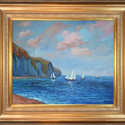overstockArt.com - Monet - Cliffs and Sailboats at Pourville - Hand painted oil reproduction of a famous Monet painting, Cliffs and Sailboats at Pourville. Today it has been carefully recreated detail-by-detail, color-by-color to near perfection. Why settle for a print when you can add sophistication to your rooms with a beautiful fine gallery reproduction oil painting? While Monet successfully captured life's reality in many of his works, his aim was to analyze the ever-changing nature of color and light. Known as the classic Impressionist, Monet cannot help but inspire deep admiration for his talent in those who view his work. This work of art has the same emotions and beauty as the original. Why not grace your home with this reproduced masterpiece? It is sure to bring many admirers!