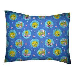 SheetWorld - SheetWorld Crib / Toddler Percale Baby Pillow Case - Tweety - Made in USA - Baby or Toddler pillow case. Made of an all cotton percale fabric. Opening is in the back center and is envelope style for a secure closure.