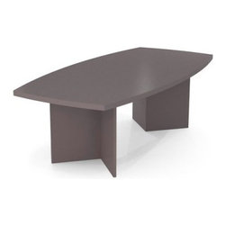 Bestar 95 in. Boat Shaped Conference Table - Slate - Enjoy the modern utility and contemporary good looks of the Bestar 95 in. Boat Shaped Conference Table - Slate. This long table has a slightly oval curve to help your team maintain eye contact and focus. It seats up to eight co-workers with plenty of elbow room so you can get down to business. The smooth tabletop is a sturdy 1.75-inch thick for strength with a hard commercial-grade melamine veneer that resists scratches and stains and cleans up with an easy wipe. It has a handsome satin gray slate finish that fits any modern decor. Stable V-pattern legs look great and have individual levelers to prevent wobbling - perfect for meetings work spaces or employee lounges. Meets or exceeds AINSI/BIFMA standards. Assembles easily. Work in style!About BestarEstablished in 1948 and based in Canada Bestar is a third-generation family business involved in the design manufacturing and distribution of a wide range of ready-to-assemble furniture and furniture components. Bestar's mission is to create produce and distribute mid- to high-end ready-to-assemble furniture for home offices small commercial offices and home entertainment. Bestar offers a combination of price quality and service that exceeds the expectations of customers and consumers.