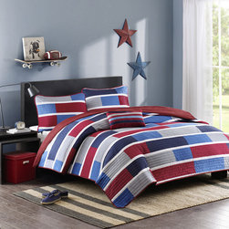 Mi-Zone - Mizone Nicholas 4-piece Coverlet Set - For a simple update to your space,this Mizone Nicholas coverlet set is a perfect solution. Small colorblocks of navy,medium blue,grey and red are printed on polyester microfiber for easy care and ideal home decor.