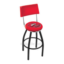 Holland Bar Stool - Holland Bar Stool L8B4 - Black Wrinkle Western Kentucky Swivel Bar Stool - L8B4 - Black Wrinkle Western Kentucky Swivel Bar Stool w/ Back belongs to College Collection by Holland Bar Stool Made for the ultimate sports fan, impress your buddies with this knockout from Holland Bar Stool. This contemporary L8B4 logo stool has a black wrinkle single-ring base and a cushioned back to achieve maximum comfort and support. Holland Bar Stool uses a detailed screen print process that applies specially formulated epoxy-vinyl ink in numerous stages to produce a sharp, crisp, clear image of your team's emblem. You can't find a higher quality logo stool on the market. The plating grade steel used to build the frame is commercial quality, so it will withstand the abuse of the rowdiest of friends for years to come. The structure is powder-coated to ensure a rich, sleek, long lasting finish. Construction of this framework is built tough, utilizing solid mig welds. If you're going to finish your bar or game room, do it right- with a Holland Bar Stool. Barstool (1)