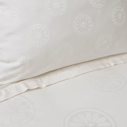 Luxe Jacquard Designer Duvet Cover, The Balboa Cream - As part of the Luxe Collection, the Balboa features our favorite geometric pattern woven in jacquard weave in a beautiful shade of cream. A brilliance of soft gradations of tones and contours of geometrics and whimsy, the Balboa is an example of modern day elegance and sophistication.
