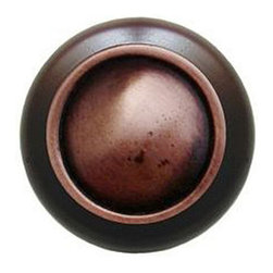 "Inviting Home - Plain Dome Walnut Wood Knob (antique copper) - Plain Dome Walnut Wood Knob with hand-cast antique copper insert; 1-1/2"" diameter Product Specification: Made in the USA. Fine-art foundry hand-pours and hand finished hardware knobs and pulls using Old World methods. Lifetime guaranteed against flaws in craftsmanship. Exceptional clarity of details and depth of relief. All knobs and pulls are hand cast from solid fine pewter or solid bronze. The term antique refers to special methods of treating metal so there is contrast between relief and recessed areas. Knobs and Pulls are lacquered to protect the finish. Alternate finishes are available."