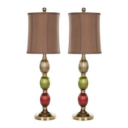 Safavieh - Bernetta Lamp - This tall slender lamp lends a Venetian accent to a side table, and equal drama when used in pairs on a dining room buffet. With three painted glass balls stacked on a gold leaf metal stand, the Bernetta Lamp is sure to brighten your room and your spirits. A coffee brown shade gives off a gentle glow.