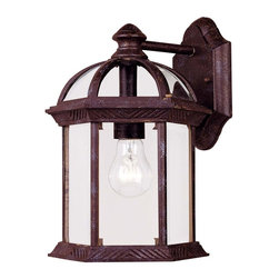 Savoy House - Savoy House Kensington Outdoor Wall Mount Light Fixture in Tortuga - Shown in picture: Classic exterior fixture available in two finishes: Textured Black and Rustic Bronze with Clear Beveled Glass.