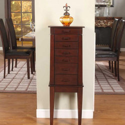 None - Sumba Yang 6 Drawer Jewelry Armoire - This 6 drawer jewelry armoire will bring you a simple yet classy. The armoire features a tapered body,beautiful wood finish and matching wood handles. It will make a practical,visual enhancement to any room.