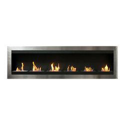"Ignis Products - Maximum Wall Mounted Ventless Ethanol Fireplace - Make a larger area feel more intimate and inviting with the warmth of this Maximum Wall Mounted Ventless Ethanol Fireplace. This large wall mount fireplace is ideal for large rooms or for commercial application in bars or restaurants, and it can also be installed in a recessed application for an even more streamlined look. The sleek, modern design of this wall-mounted unit features six individual flames in a stainless frame that gives your wall a contemporary look. It is equipped with six ethanol burners with a total approximate output of 36,000 BTUs, so it is sufficiently sized to keep a big area toasty warm. This ventless unit installs with ease without the need for electrical or gas lines and without the use of a chimney. It uses clean burning ethanol, so there's no muss or fuss. Dimensions: 82.75"" x 24.5"" x 6"". Features: Ventless - no chimney, no gas or electric lines required. Easy or no maintenance required. Easy Installation - can be mounted directly on the wall or recessed (mounting brackets included). Capacity: 1.5 Liters per Burner. Approximate burn time - 5 hours per Burner per refill. Approximate BTU output: 6000 per Burner (Total BTU - 36000)."