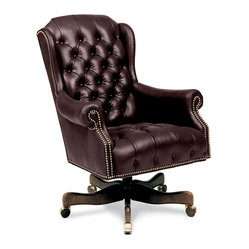 Like a Boss Collection - Boss Hog Chair - You're the big cheese, but you don't have to stand alone. Sit in comfort with this rolling executive chair. It features a hardwood frame with durable springs and high-density padding covered in button-tufted burgundy leather. And the brass nailhead trim adds a little extra polish and shine.