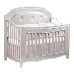 Natart - Natart Alexa Convertible Crib, Silver, With Upholsterd Panel - Our Italian heritage provided the inspiration for the Alexa Collection. The culmination of haute couture, Renaissance influences and design expertise is translated into a graceful tapered leg, bentwood curved sides, a convex shaped front, and imported Italian knobs that are hand-dipped in real silver. Alexa, the sister collection to Allegra, epitomizes elegance and luxury with her graceful curves and slender tapered legs.