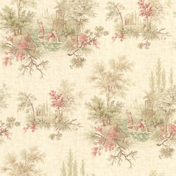 Beacon House - La Belle Maison Verdant Wallpaper - Dedicate your decor to true enchantment. This vintage toile wallpaper depicts a romantic interlude in soft, dreamy hues, the perfect backdrop for your favorite setting.