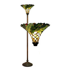 Warehouse of Tiffany - Tiffany-style Green Leaf Torchiere Lamp - Brighten up a room with this handcrafted, Tiffany, torchiere lamp that has leaf motifs in green, red, yellow, and white. Each unique piece of glass is hand cut and wrapped in fine copper foil. The lamp operates with a foot switch and one 100-watt bulb.