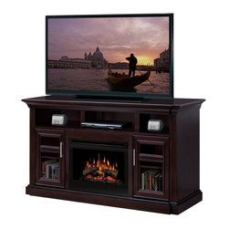 Dimplex - Dimplex Bailey Media Console with Electric Fireplace Multicolor - GDS25-1242E - Shop for Fire Places Wood Stoves and Hardware from Hayneedle.com! The Dimplex Bailey Media Console with Electric Fireplace is traditional styling at its best making it a brilliant backdrop to your home television. This piece features 2 adjustable dividers shelves at the top center and sides for your media giving you plenty of storage options and a nifty wire passageway in the back. The rich espresso finish and fluted pilasters look great anywhere. For pennies a day you can heat a room of up to 400 square feet and marvel at the dazzling light reflected from a bed of glass embers or unique glow logs molded from real life wood! Measures 66W x 23.25D x 36.25H.About DimplexDimplex North America Limited is the world leader in electric heating offering a wide range of residential commercial and industrial products. The company's commitment to innovation has fostered outstanding product development and design excellence. Recent innovations include the patented electric flame technology - the company made history in the fireplace industry when it developed and produced the first electric fireplace with a truly realistic wood burning flame effect in 1995. The company has since been granted 87 patents covering various areas of electric flame technology and 37 more are pending. Dimplex is a green choice because its products do not produce carbon monoxide or emissions.