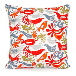 "Blooming Home Decor - Red & Blue Bird Accent / Throw Pillow Cover 18""x18"" - - 18"" square"