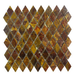 """Marbleville - Multi Red Onyx Diamond Pattern Polished Mesh-Mounted Mosaic in 12"""" x 12"""" Sheet - Premium Grade Multi Red Onyx Diamond Pattern Polished Finish Mesh-Mounted Onyx Mosaic is a splendid Tile to add to your decor. Its aesthetically pleasing look can add great value to any ambience. This Mosaic Tile is made from selected natural stone material. The tile is manufactured to high standard, each tile is hand selected to ensure quality. It is perfect for any interior projects such as kitchen backsplash, bathroom flooring, shower surround, dining room, entryway, corridor, balcony, spa, pool, etc."""