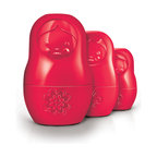 Fred and Friends - M-Cups - Measuring Cups-Red - This set of 6 dry-measure cups nests neatly just like traditional Russian matryoshkas. They accurately measure .5, 1/3, .5, 2/3, 3/4 and 1 full cup, and they're built from heavy-duty, food-safe, long-life engineering plastics. M-Cups are useful, easy to store, and quite charming...so why not doll up YOUR kitchen with a little Russian folklore? Each set is packaged in a full-color printed giftbox.