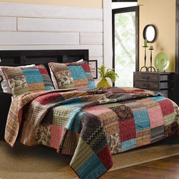 None - New Bohemian Cotton Patchwork Quilt Set (Sham Separates) - A pretty patchwork pattern is designed with multi-pattern fabric to give the New Bohemian quilt set a vintage-inspired look. Crafted with pure cotton,this machine washable transitional bedding will bring a burst of color to any bedroom decor.
