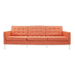 Florence Style Sofa in Orange Tweed