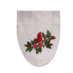 Cardinal and Holly Table Art Runner - Celebrate the season in an elegant, classy way with this red, green, and white table runner. When you unfurl this silk handcrafted runner on your table, you'll delight in the lively embroidered scene of a cardinal perched on a holly branch.