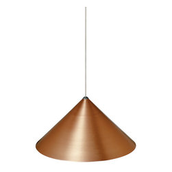 """Tech Lighting - Tech Lighting 700KSKY08CPC KSky Pend 08IN copper, ch - Lightweight anodized metal pendant. Available in 8"""" or 12"""" diameter. Includes lowvoltage, 50 watt MR16 flood lamp or 6 watt replaceable LED module and six feet of fieldcuttable suspension cable."""