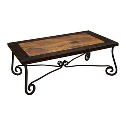Artisan Home Furniture - Artisan Home Santa Clara Cocktail Table with Copper Top and Iron Base - The firing gives the copper its many variations and makes each top a work of art. No two tops will match, but are finished to blend together. Distressing gives a rustic appeal, while the lacquer finish protects and adds durability to the wood.