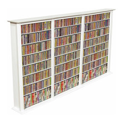 Venture Horizon - Triple Wide Front View Media Storage Tower w - Generously sized to house an entire movie and music collection, this traditional bookcase style media storage tower will be a fashionable and functional addition to a rec room or family room. Ideal for keeping your movies and music organized and easily accessible, the unit is constructed of wood composite with adjustable shelving and is finished in a crisp, clean white. Adjustable shelving. Holds entire media collection. Constructed from durable, stain resistant and laminated wood composites that includes MDF. White vinyl laminate finish. Made in the USA. Assembly required. Media storage capacity:. CD's : 1392. DVD's : 702. Blu-ray's: 756. VHS tapes: 396. Disney tapes: 300. Audio cassettes: 1300+. Weight: 88 lbs.. Shelf depth: 6 in.. Assembled size: 76 in. W x 9.5 in. D x 50 in. HMaximize Your Storage Capacity. Nobody does it better! You may have seen other Media Storage Towers in your journeys but you have never come across the styling, variety, storage capacity or value for the money, anywhere. We beat the competition...hands down. We offer 6 sizes in 5 colors. We also did not skimp on the sizing like many other manufacturers. Our Media Storage Towers will indeed hold an entire media collection and then some. Our units hold over 40% more media (CD's, DVD's and VHS Tapes) than our leading competitors. All that in a wall hugging slim cabinet design. Shelves are only 6 in. deep but a generous 24 in. wide. The 76 in. high Single Tower has 12 adjustable shelves plus the fixed base. The 76 in. Double has 24 adjustable shelves plus 2 base sections for storage. The 76 in. Triple Tower has 36 adjustable shelves plus 3 base sections for storage. See the table above for shelving information on the 50 in. models. You can also choose to assemble any tower with or without the decorative Top Molding depending upon the look you want.