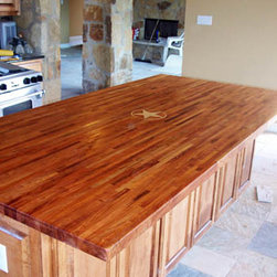 WR Woodworking - Mesquite Edge Grain Counter Top - WR Woodworking Custom  Mesquite edge grain counter top with Maple start inlay