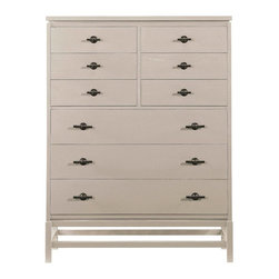 Stanley Furniture - Stanley Coastal Living Resort Tranquility Isle Drawer Chest Dune 062-D3-13 Multi - Shop for Dressers from Hayneedle.com! A simple streamlined shape distressed dune finish and ornate metal drawer pulls make the Stanley Coastal Living Resort Tranquility Isle Drawer Chest Dune 062-D3-13 a smart-looking - and smart-storing - addition to your master bedroom. Crafted with durable wood veneers and solids this dresser features three wide and six smaller drawers that will keep you organized. The wide top is perfect for display too.The Coastal Living Resort CollectionThis collection from Stanley Furniture features a pallet of calm muted colors and finishes that mix and match effortlessly allowing you the freedom to create your own ideal balance of sophistication without moving too far away from casual. This collection offers the perfect blend of simple shore life and the understated elegance of a five-star coastal hotel.Stanley Furniture Craftsmanship Stanley Furniture's main objective is to produce quality and stylish furniture by using the best wood materials construction procedures and elegant finishes on their products to help you fashion your home decor the way you imagined. All of their furniture is hand-crafted from quality woods incorporating other superior materials such as aluminum glass plastic leather and marble. Every joint is carefully constructed (keeping wood's sensitivity to heat and humidity in mind) allowing for expansion and contraction. All joints are held together with glue and nail. Stanley's 30-step finishing process starts with an undertone stain that is applied to a hand-sanded piece. Next the stain is sealed with a wash coat then hand sanded again with filler applied to pack the wood pores and smooth out the surface. A sealer coat is then applied the piece is hand sanded again and hand padded to mellow the tone. From there a luster glaze is rubbed on by hand followed by antiquing or distressing also done by hand. Finally after drying each piece is hand waxed and rubbed prior to final inspection.About Stanley FurnitureSince 1924 the goal of the Stanley Furniture Company has been to manufacture high quality furniture at a price the average American family could afford. To accomplish this goal founder Thomas Bahnson Stanley surrounded himself with the finest furniture craftsmen and instilled in them a sense of pride in building superb quality into every piece of Stanley Furniture. Today that pride is shared by more than 1 750 dedicated associates who have made Stanley Furniture one of the largest most respected furniture manufacturers in the nation.