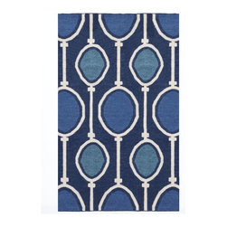 Abacus Wool Dhurrie, Regal Blue - The shades of blue in this area rug are beautiful, and the oval design creates a unique and fun pattern.