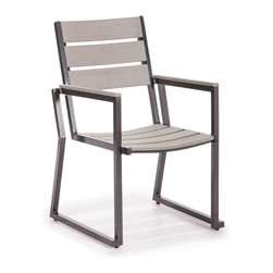 ZUO VIVA - Megapolis Dining Chair Gray - The Megapolis Bar Armchair has a sturdy brusehed aluminum frame and a slatted faux wood seat and back.