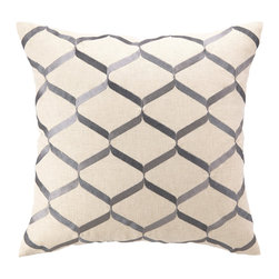 "DL Rhein - DL Rhein Ribbon Work Lilac Embroidered Pillow - DL Rhein combines a playful geometric design with vivid tonal colors to create the simply chic Ribbon Work throw pillow. Embroidered lilac, charcoal and ash gray lines criss cross against an ivory background to create its modern diamond pattern. 20""W x 20""H; 100% linen; Handcrafted; Includes 95/5 feather down pillow insert; Dry clean only"