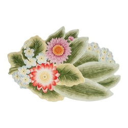Fitz and Floyd 29-564 Flourish Leaf Platter - Already fanciful, anything you serve on the Fitz and Floyd 29-564 Flourish Leaf Platter is certain to look from-the-garden fresh. The durable earthenware construction ensures lasting beauty. The bright and beautiful nature-inspired looks make this a lovely addition to the Flourish collection.About Fitz and FloydFitz and Floyd is recognized worldwide as a leader amongst the style- and quality-conscious. For 50 years, their unique designs have made them the leader in the purveyor of hand-painted ceramic dinnerware, tableware, accessories, giftware, and collectibles. All Fitz and Floyd pieces are easy to spot. Each piece is distinctively hand-crafted by artisans, from the drawing board to the sculpting wheel and kiln.The company's Dallas-based studios are renowned for producing over 500 unique designs per year. Creations range from presidential dinnerware for the White House or a tea service for Her Majesty Queen Elizabeth II, to the perfect centerpiece for your table, and each design is lovingly crafted in the highest quality. Meticulous craftsmanship and exquisite detail make every Fitz and Floyd piece a treasured heirloom-quality gift.