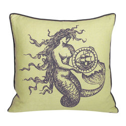 Kevin O'Brien Studio - Nautical Mermaid Pillow, Aquarium - Our brightly colored nautical prints are screen printed onto 100% linen; piped edging; zip closure; feather/down insert included; designed in Philadelphia and made in Nepal