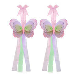 """Bugs-n-Blooms - Butterfly Tie Backs Pink Purple Green Triple Layered Butterflies Tieback Pair Se - Window Curtains Holder Holders Tie Backs to Decorate for a Baby Nursery Bedroom, Girls Room Wall Decor - 7""""W x 5""""H Pink Brown White Triple Layered Curtain Tieback Set Butterfly 2pc Pair - Beautiful window curtains tie backs for kids room decor, baby decoration, childrens decorations. Ideal for Baby Nursery Kids Bedroom Girls Room.  This gorgeous butterfly tieback set is embellished with triple layered wings.  This pretty butterfly decoration is made with a soft bendable wire frame & have various color match trails of organza ribbons.  Has 2 thick color matched organza ribbons to wrap around the curtains.  Visit our store for more great items. Additional styles are available in various colors, please see store for details. Please visit our store on 'How To Hang' for tips and suggestions. Please note: Sizes are approximate and are handmade and variances may occur. Price is for one pair (2 piece)"""