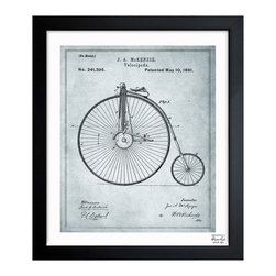 "The Oliver Gal Artist Co. - ''McKenzie Velocipede 1881 Gray' 15""x18"" Framed Art - Exclusive blueprints inspired by real vintage patent drawings & illustrations. Handcrafted in the Oliver Gal Artist Co. Studios in Miami, Florida. Produced on matte proofing paper and hand framed by professional framers in a 1.2"" premium black wood frame. Perfect for any interior design project, gifts, office décor, or to add special value to one of your favorite collections."