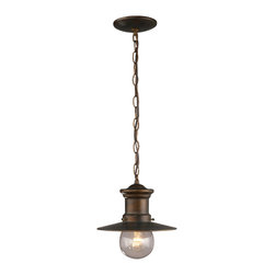 Elk Lighting - Elk Lighting 42007/1 1 Light Outdoor Pendant in Hazlenut Bronze & Clear Seeded G - 1 Light Outdoor Pendant in Hazlenut Bronze & Clear Seeded Glass belongs to Maritime Collection by Elk Lighting Whether You Live By The Sea Or Are A Sailor At Heart, These Fixtures Are Ideal For Those Of The Nautical Persuasion.  This Collection Has A Hazelnut Bronze Finish And Is Complimented By A Clear, Lightly Seeded Blown-Glass Diffuser.    Pendant (1)