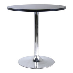 "Winsome Wood - Winsome Wood Spectrum Spectrum 29"" Round Dinning Table with Metal Leg X-92739 - 29"" Round dining table made of durable MDF with a matte black finish and a metal leg with chrome finish. Perfect for small dining areas: it has contemporary styling and is a great match with our 93220 swivel chairs."