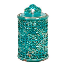 Kendall Teal Ceramic Canister Jar - Medium - *Bring a taste of the orient to your home. This medium Kendall Teal Canister's vibrant color can brighten your home.