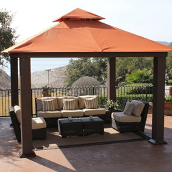 Systems Trading - STC 12 x 12 ft. Seville Gazebo - GZ734 - Shop for Gazebos from Hayneedle.com! Start a new era in your backyard with the STC 12 x 12 ft. Seville Gazebo. This square pergola-inspired structure has ornamented posts with Coffee Bean colored wicker wrap enveloping a sturdy powder-coated aluminum and steel frame. The gazebo's canopy is crafted from high-quality Sunbrella fabric that's weather-resistant sunlight filtering and fade-resistant ensuring this Tuscan-colored gazebo will offer you years of use. The canopy is also vented to allow wind to escape. Perfect for creating ideal outdoor lounging this gazebo offers 144 square feet of outdoor living space. This gazebo feature corrosion-free aluminum framing and maintains a strong base in any season. The gazebo comes with a kit including easily followed instructions ground stakes patented connectors rust-free hardware and tools. All you'll need is a phillips screwdriver and pliers. One to two people can assemble this gazebo in two to three hours. About Systems Trading Corporation.Systems Trading Corporation (STC) was incorporated in 1994 as a manufacturer and distributor of high-quality innovative easy-to-use products at affordable prices. The company is privately held with a skilled professional staff. Among the products offered you will find the most innovative line of TV and flat-screen wall and ceiling mounts the USA's best-selling backyard hobby greenhouses the world's best-selling robotic lawn mower and mini coolers and mood light products.