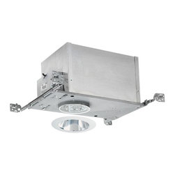 Juno Lighting Group - 4-inch Low-Voltage Recessed Lighting Kit with Clear Trim - IC44N/442C-WH - This low-voltage recessed lighting kit features 4-inch insulation-ready housing and a deep cone trim with a glare-reducing clear Alzak� finish and white outside trim. The housing can be completely covered with insulation. It is air-tight which reduces heating and cooling costs. It comes with a thermally protected magnetic transformer. The hangers are expandable up to 25 inches. Alzak� is an anodized, hand-polished aluminum reflector with superior glare reduction. Takes (1) 50-watt halogen MR-16 bulb(s). Bulb(s) sold separately. Dry location rated.