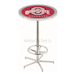 Holland Bar Stool - Holland Bar Stool L216 - 42 Inch Chrome Ohio State Pub Table - L216 - 42 Inch Chrome Ohio State Pub Table  belongs to College Collection by Holland Bar Stool Made for the ultimate sports fan, impress your buddies with this knockout from Holland Bar Stool. This L216 Ohio State table with retro inspried base provides a quality piece to for your Man Cave. You can't find a higher quality logo table on the market. The plating grade steel used to build the frame ensures it will withstand the abuse of the rowdiest of friends for years to come. The structure is triple chrome plated to ensure a rich, sleek, long lasting finish. If you're finishing your bar or game room, do it right with a table from Holland Bar Stool.  Pub Table (1)