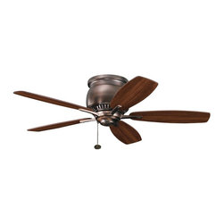 """BUILDER FANS - BUILDER FANS Richland II 42"""" Transitional Flush Mount Ceiling Fan X-BBO421003 - Soft, feminine lines with warm masculine finishes give this Kichler Lighting ceiling fan an elegant look. From the Richland II Collection, it pairs a warm Oil Brushed Bronze hue with reversible walnut/cherry fan blades for a custom look."""