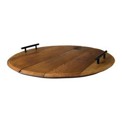 Alpine Wine Design - Cooperage Wine Barrel Platter - Get a handle on your next wine and cheese party with this gorgeous platter. It's made from the top of a reclaimed wine barrel and even carries the unique cooper's brand. But that's not all it carries. Load it with cheese, nuts, finger sandwiches, fruit and all the things that make life toast-worthy.