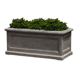 Campana - City College LeWindow Box Planter - The City Colege GFRC planters bridge the design gap of classical and modern. A planter with traditional minimal line detail contrasted by distictivly modern colors and patinas.