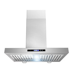 None - 30-inch Flat Design Stainless Steel Island Mount Range Hood - Offering ultra-quiet operation,this beautiful stainless steel range hood will complement your kitchen's decor while helping to make meal preparation enjoyable and hassle-free.