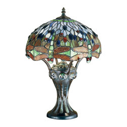 "Meyda Lighting - Meyda Lighting 30951 17""H Tiffany Hanginghead Dragonfly Mosaic Base Accent Lamp - Meyda Lighting 30951 17""H Tiffany Hanginghead Dragonfly Mosaic Base Accent Lamp"
