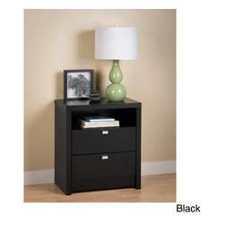 Prepac - Valhalla Designer Series Tall 2-drawer Nightstand - Store your bedside essentials in this tall two-drawer nightstand. In addition to the roomy drawers,this piece has a cubby perfect for keeping your nightly reading materials,and the top surface is perfect for your lamp,telephone,and alarm clock.