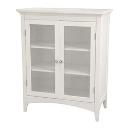 Elegant Home Fashions - Madison Avenue Bathroom Floor Cabinet in White w Double Doors - For country or casual bath decor, the Madison Avenue cabinet will be a delightful addition. A double door design provides easy access to interior space that sports three shelves sized for linens and accessories. Glass fronts and metal pulls add to the appeal. Attractive addition to any bath decor. Adds style and storage to your bath with these refreshing furnishings. Glass windows. White finish. Made of MDF, glass. 26 in. W x 13 in. L x 32 in. H