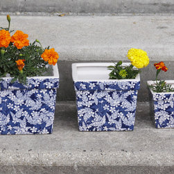Blue Blossom Ceramic Planter Set - Add some charm wherever you set these Blue Blossom ceramic square pots! Set of 3 makes a nice arrangments with colorful annuals or even with herbs! Set them on stairs, shelf, patio- indoors or out!